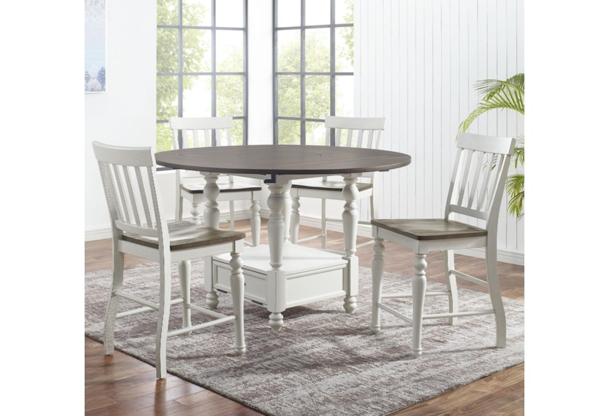 Steve Silver Joanna 5 Piece Farmhouse Round Counter Table Set With Drop Leaves And Lazy Susan A1 Furniture Mattress Pub Table And Stool Sets