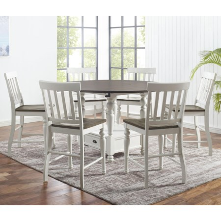 7-Piece Round Counter Table Set