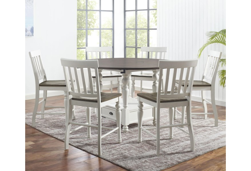 Star Petunia 7 Piece Farmhouse Round Counter Table Set With Drop Leaves And Lazy Susan Efo Furniture Outlet Pub Table And Stool Sets