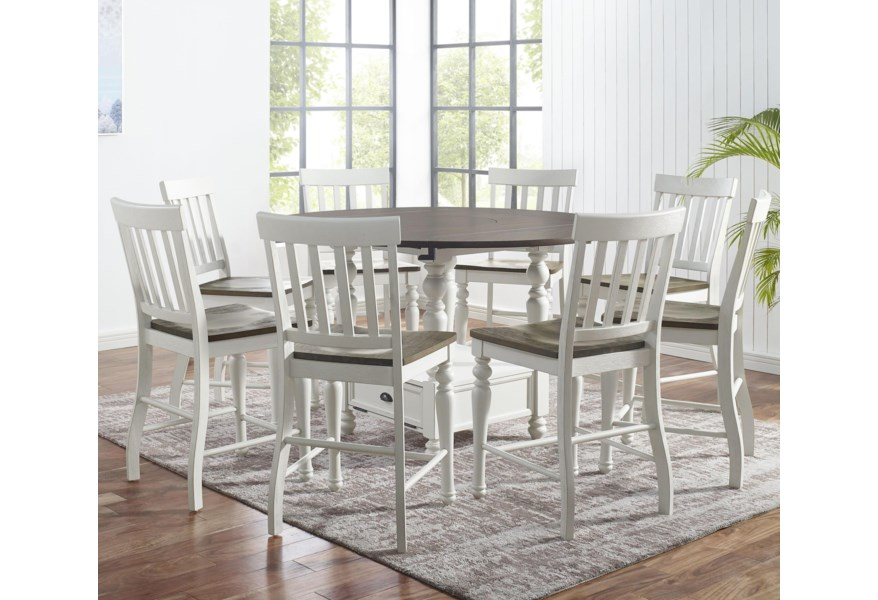 Steve Silver Joanna Ja5959ctb Ja5959ctt 8xja700ccn 9 Piece Farmhouse Round Counter Table Set With Drop Leaves And Lazy Susan O Dunk O Bright Furniture Pub Table And Stool Sets