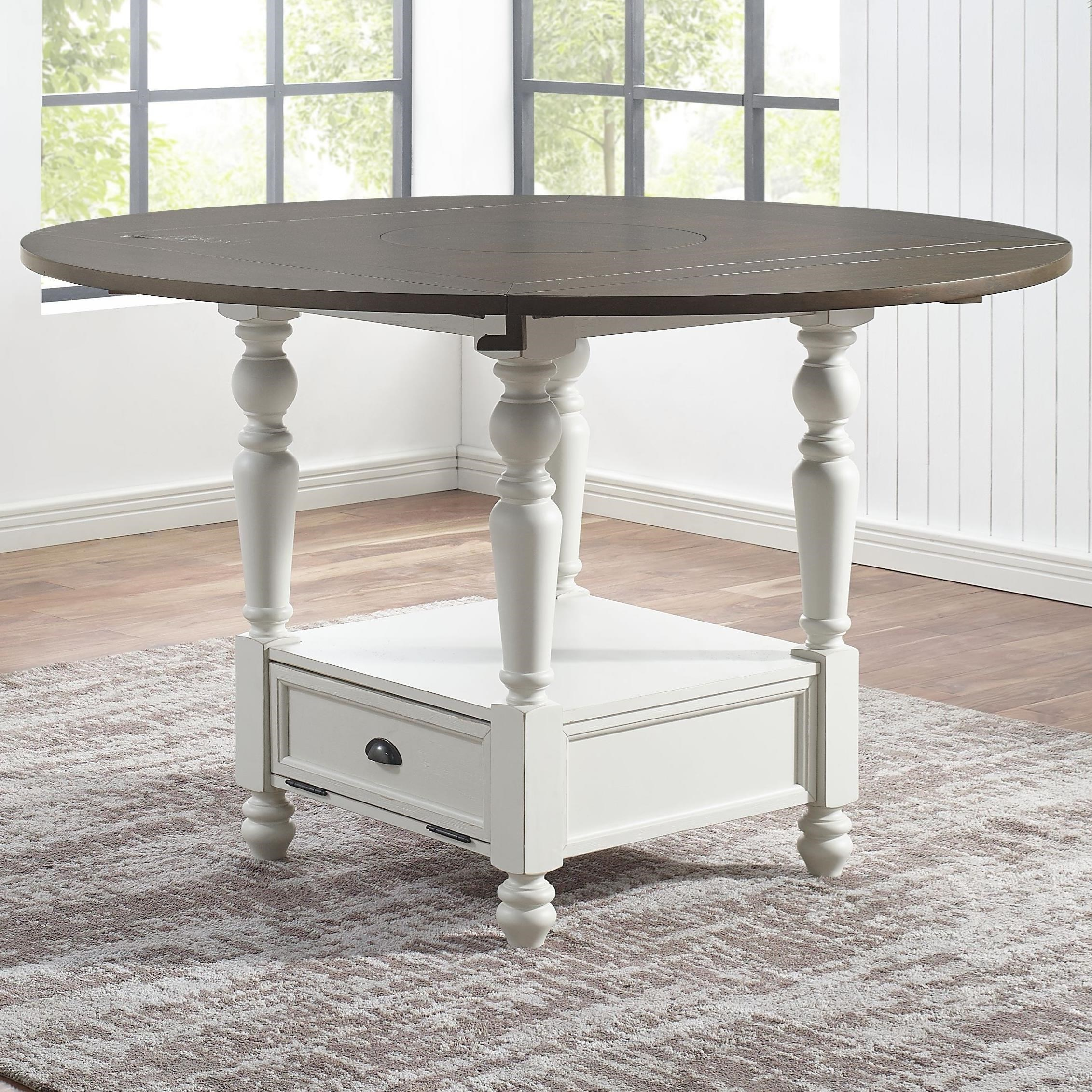 Farmhouse Round Counter Table with Drop Leaves and  Lazy Susan