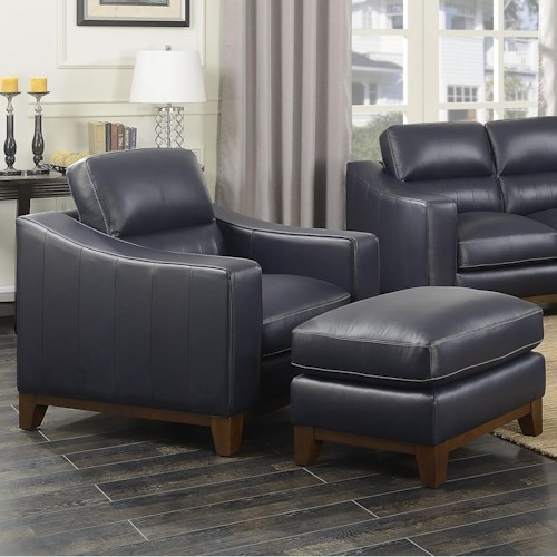 Steve Silver Keelan Contemporary Leather Chair And Ottoman Set