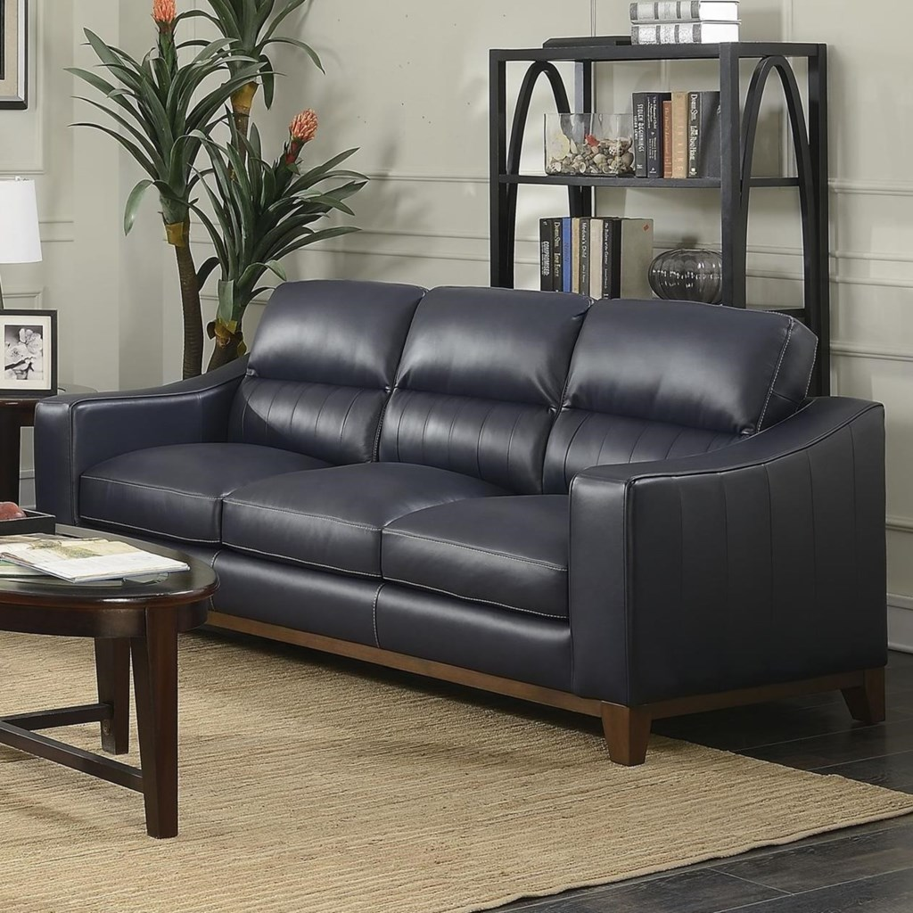 Steve Silver Keelan Contemporary Leather Sofa With Wood Base Rooms