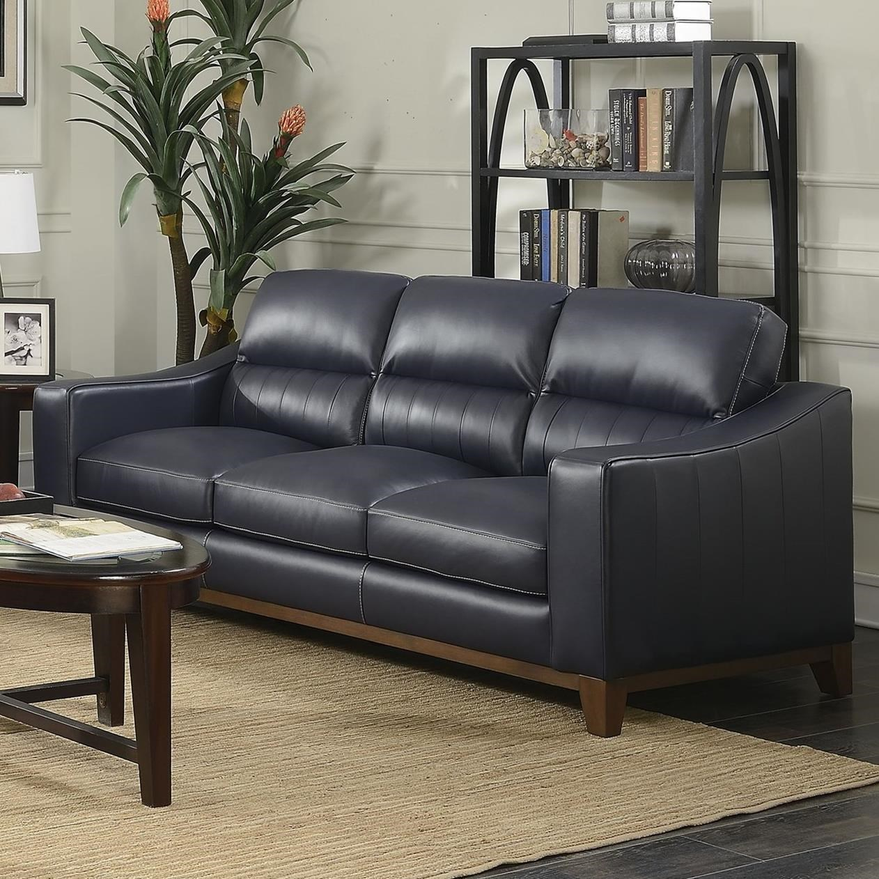 Steve Silver Keelan Contemporary Leather Sofa With Wood Base