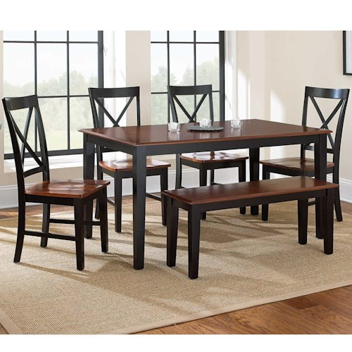 Steve Silver Kingston 6-Piece Casual Dining Table, Bench, & Side Chair Set