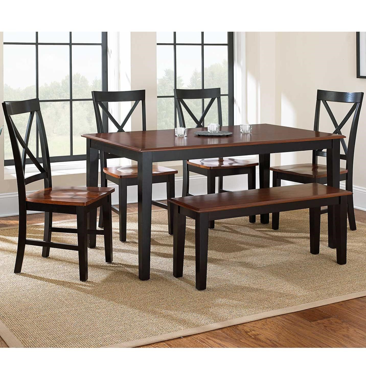 Kingston 6 Piece Casual Dining Table, Bench, U0026 Side Chair Set By Vendor 3985