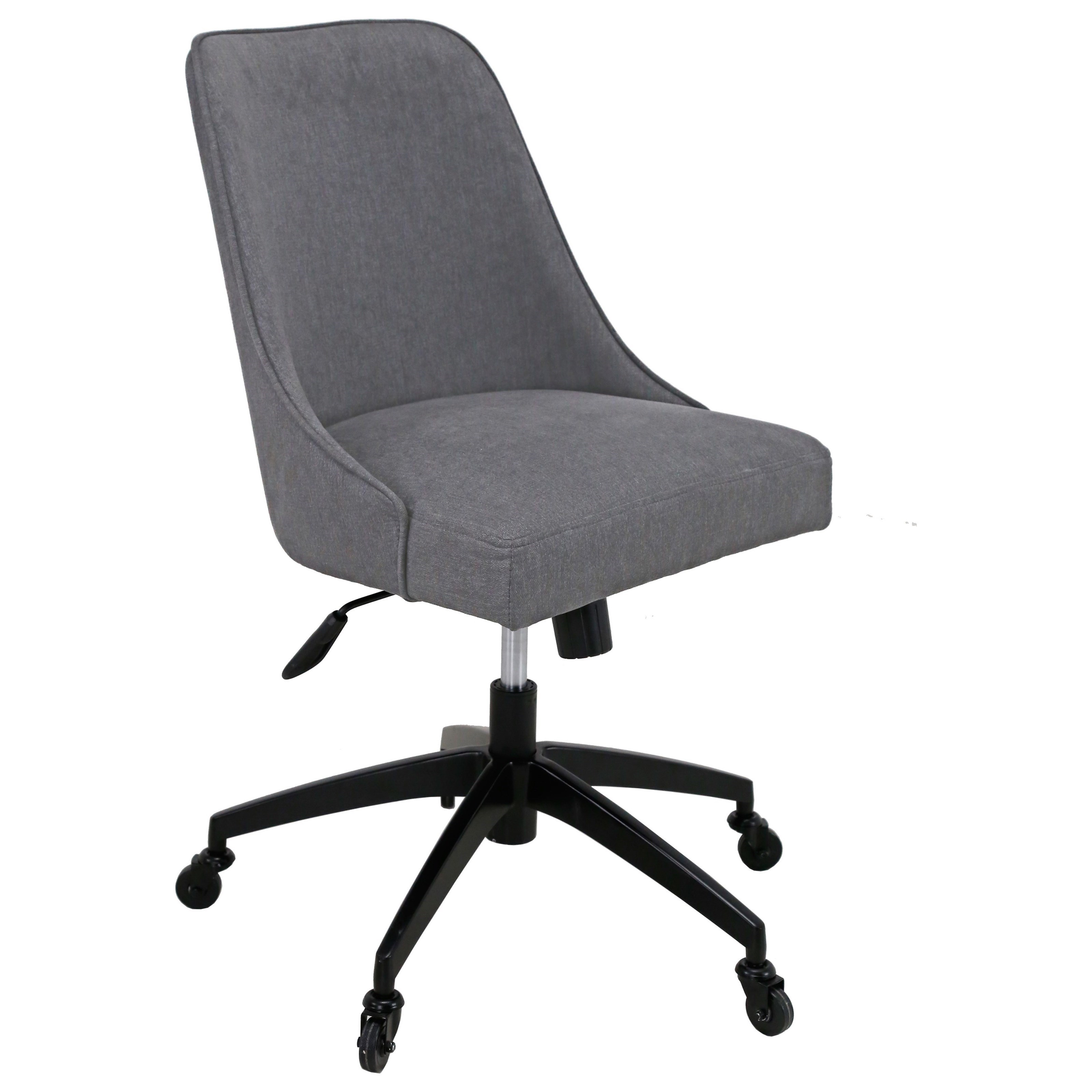 Swivel Upholstered Desk Chair in Gray Fabric