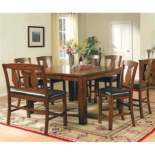 Steve Silver Lakewood  8-Piece Pub Table, Bench, & Side Chair Set