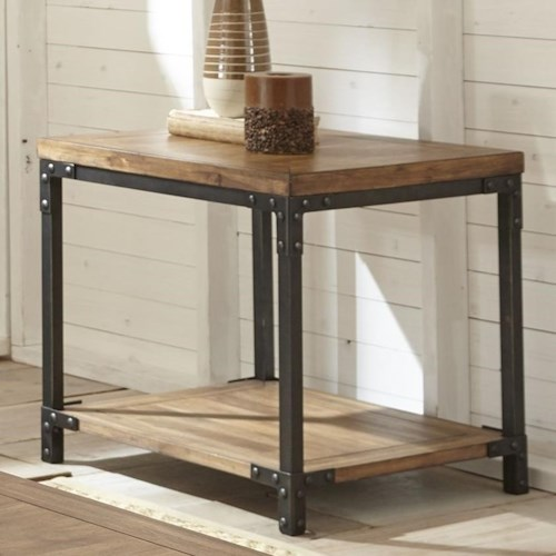 Steve Silver Lantana Industrial End Table with Metal Frame