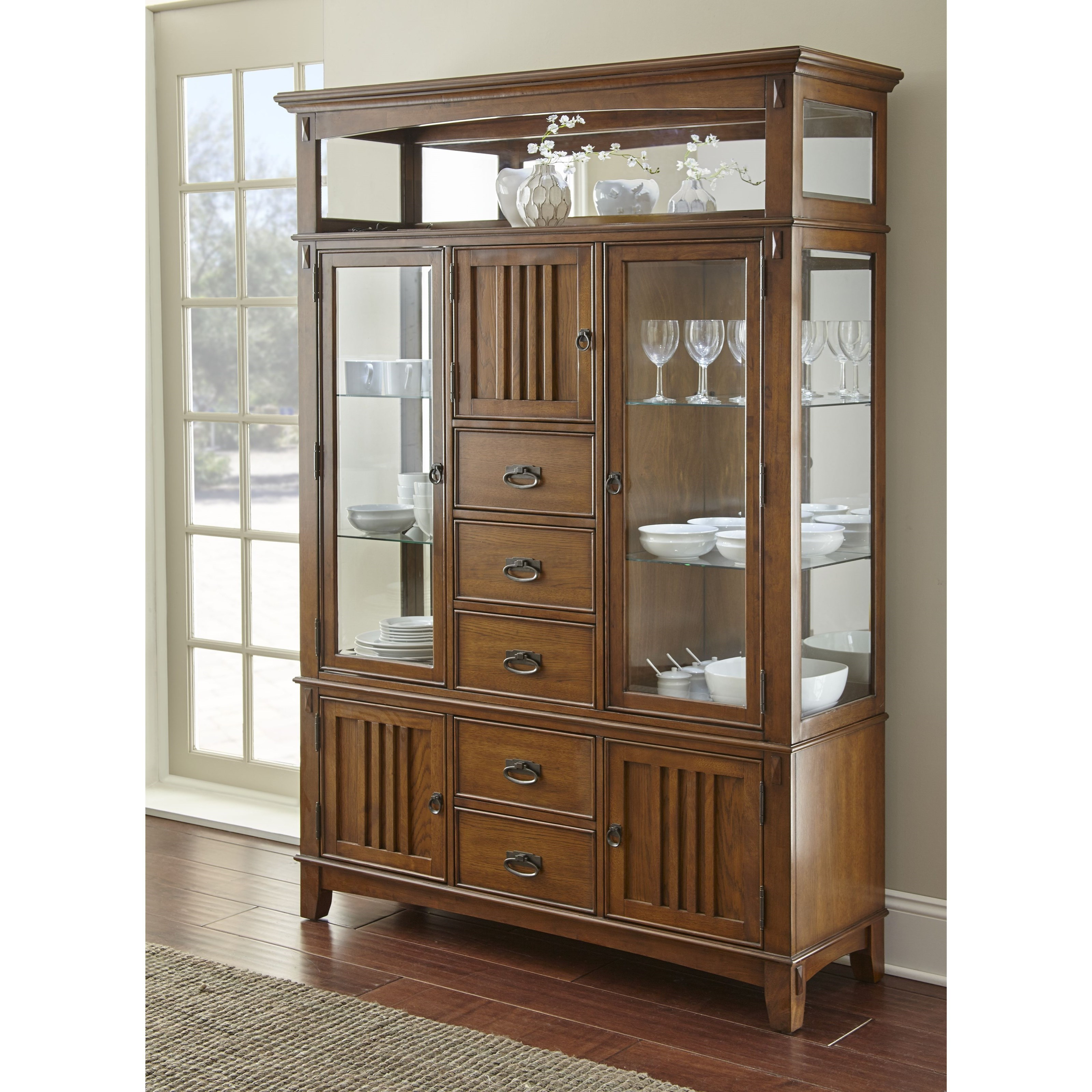 Steve Silver Larkin LK550 Mission Buffet And Hutch With Mirrored Back