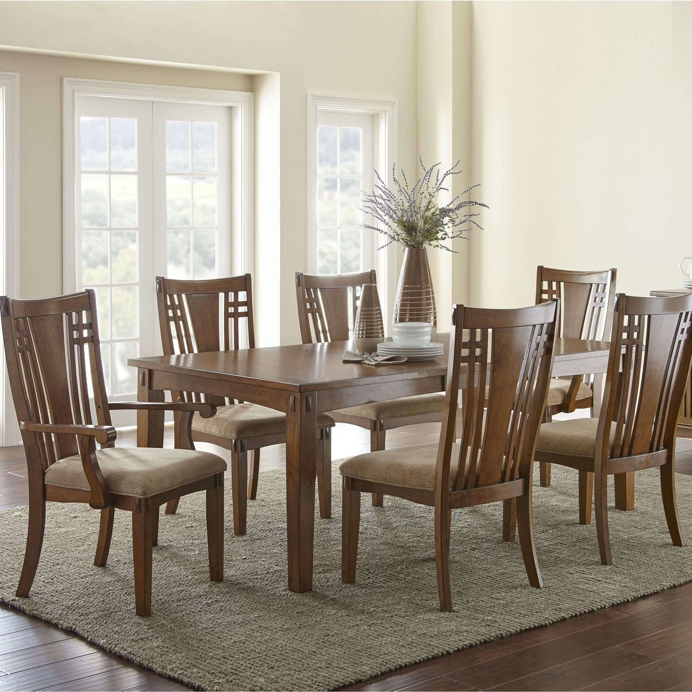 Steve Silver Larkin LK550 Mission 7 Piece Rectangular Table And Chair Set  With 20