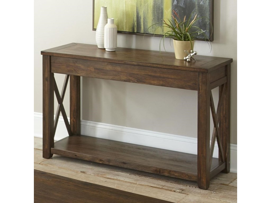 Lenka Rustic Farmhouse Sofa Table with Shelf by Steve Silver at Wayside  Furniture
