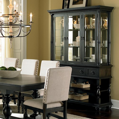 Home Dining Room Furniture China Cabinet Steve Silver Leona Buffet Hutch Cottage Antique Black With Shelves Drawers