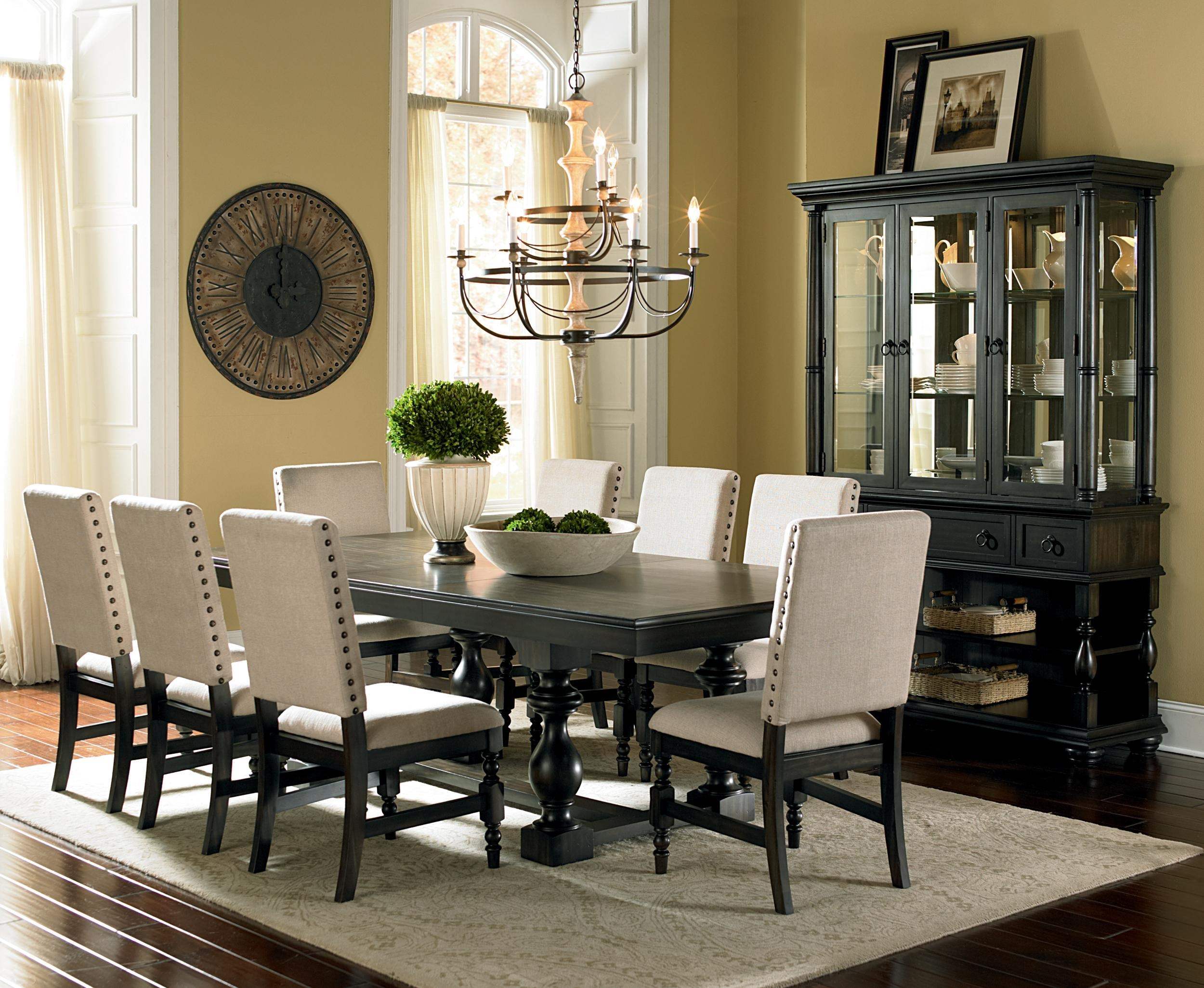 steve silver leona 9-piece cottage antique black table & side