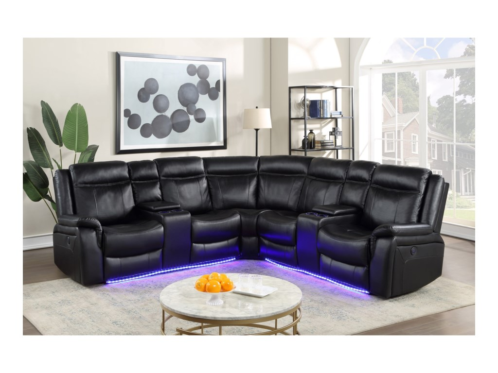 Steve Silver Levin Casual Power Reclining Sectional With Built In Lighting Wayside Furniture Reclining Sectional Sofas