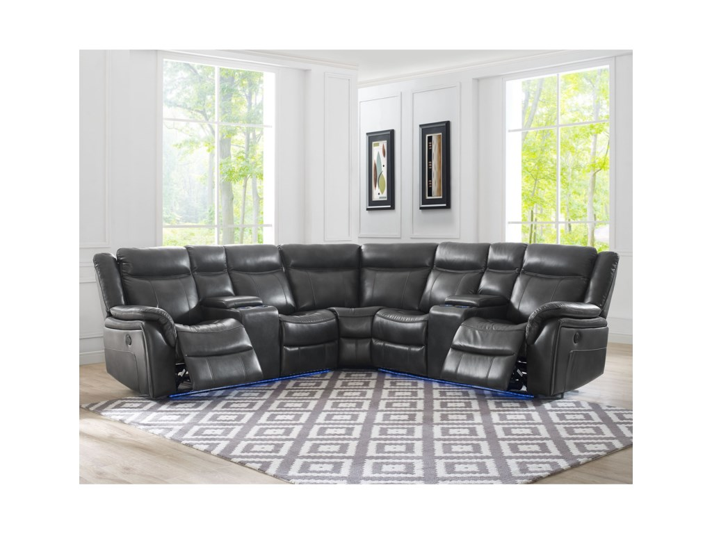 Steve Silver Levin 4 Seat Power Reclining Sectional Sofa With