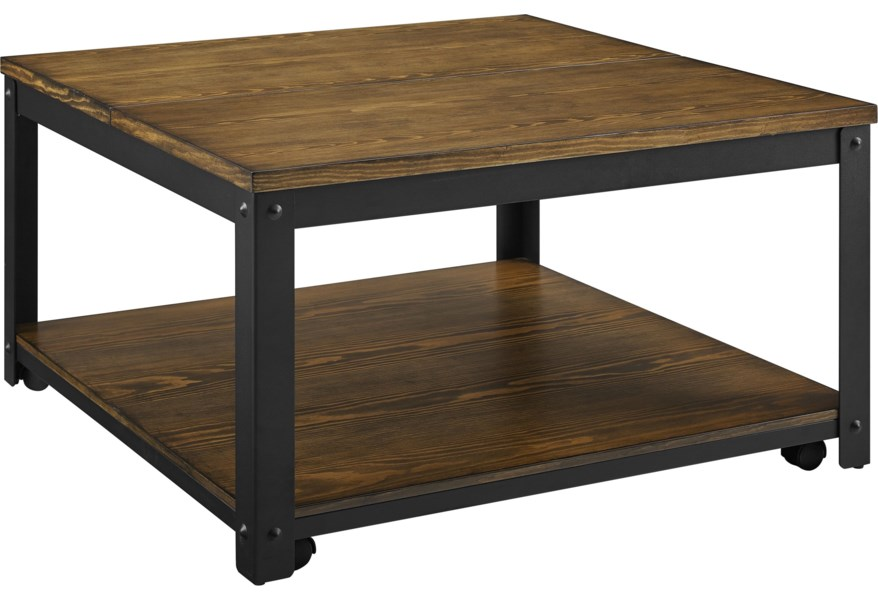 Steve Silver Logan Lg200cl Casual Wood Metal Square Lift Top Cocktail Table W Casters O Dunk O Bright Furniture Cocktail Coffee Tables