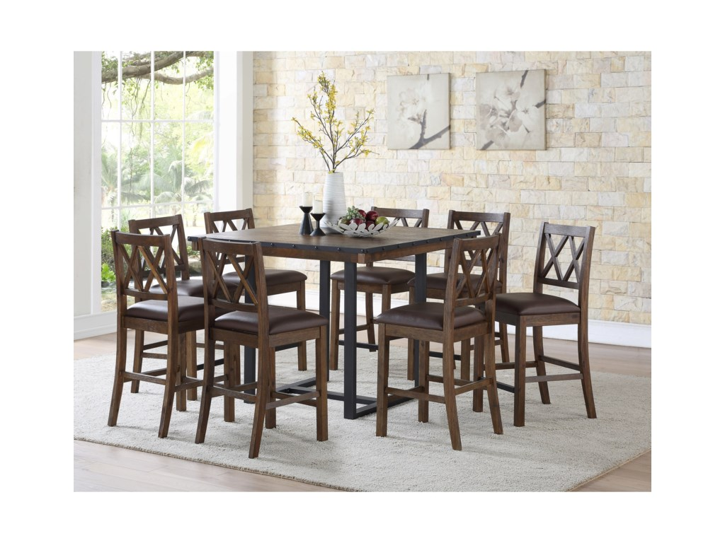 Steve Silver Lori Rustic Industrial 9 Piece Counter Table And Chair