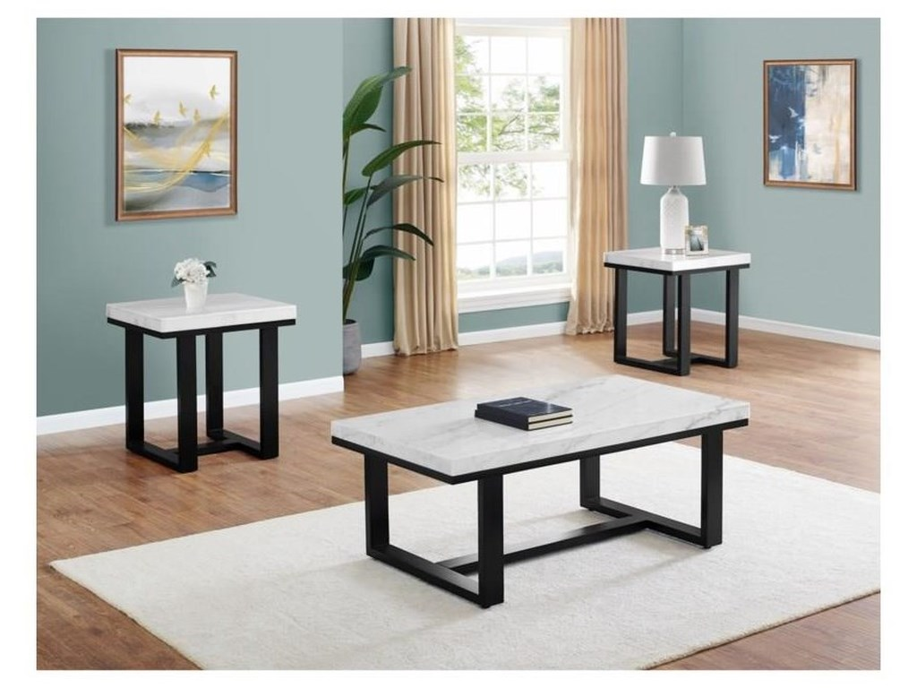 Steve Silver Lucca Lc200cas E Rectangular Cocktail Table With Marble Top And Square End Table With Marble Top Sam Levitz Furniture Occasional Groups