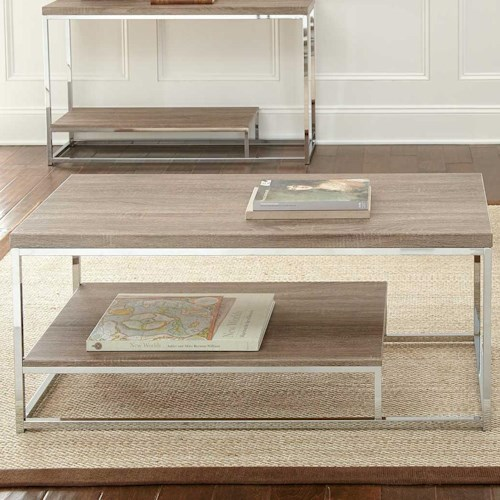 Steve Silver Lucia Rectangular Cocktail Table with Metal Frame and Shelf