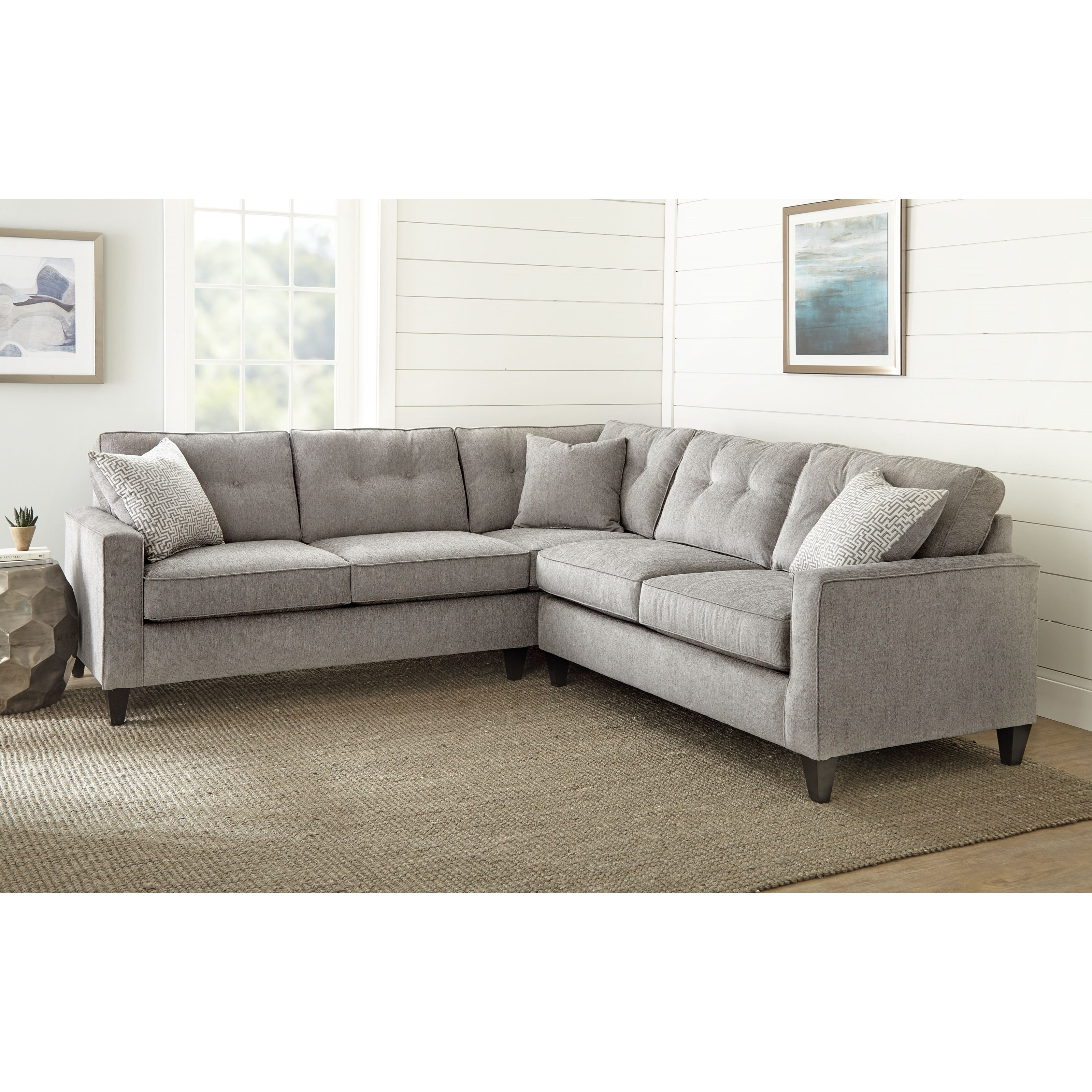 Transitional 2 Piece Sectional with 3 Accent Pillows