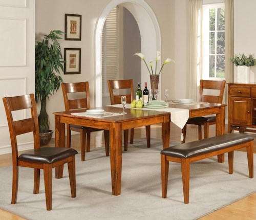 Steve Silver Mango 6 Pc. Leg Table with Four Side Chairs and Bench