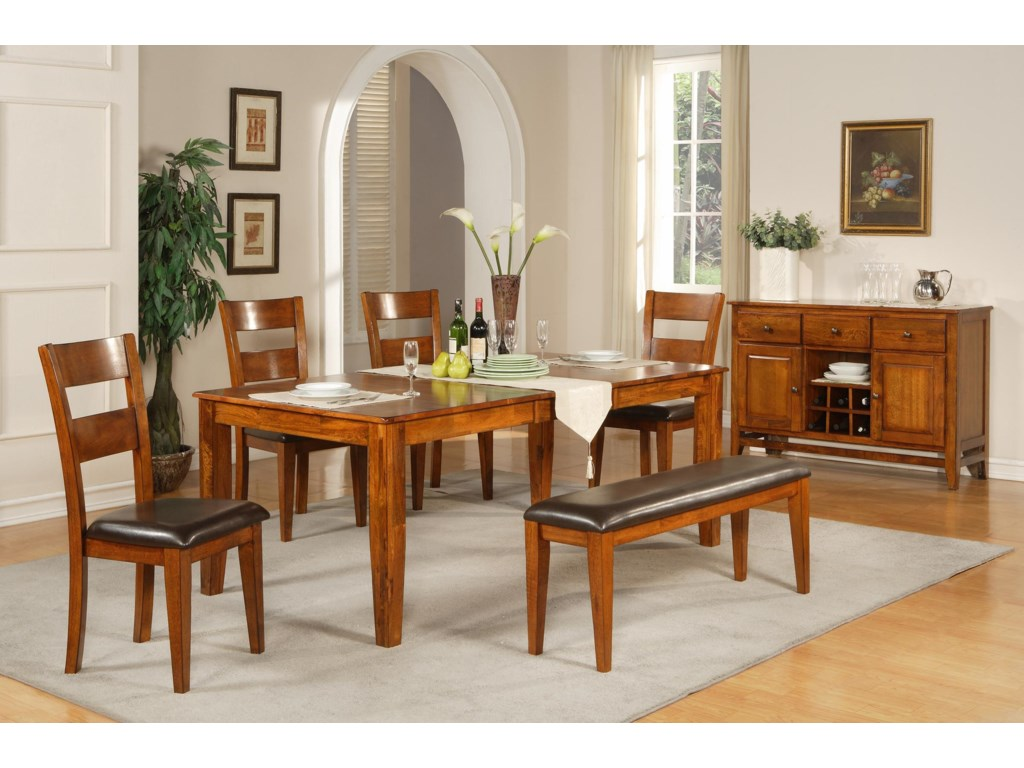 Shown in Room Setting with Dining Table, Side Chairs and Bench