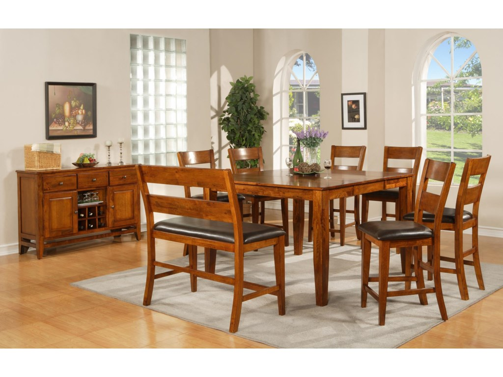 Shown in Room Setting with Counter Height Chairs, Counter Height Bench and Server