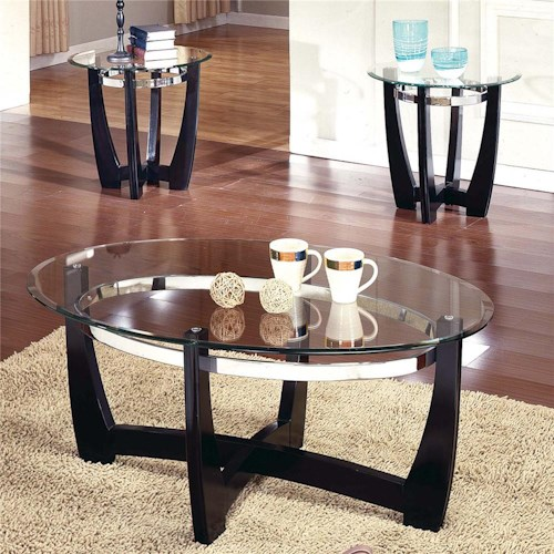 Steve Silver Matinee 3-Pack Glass Top Occasional Table Group
