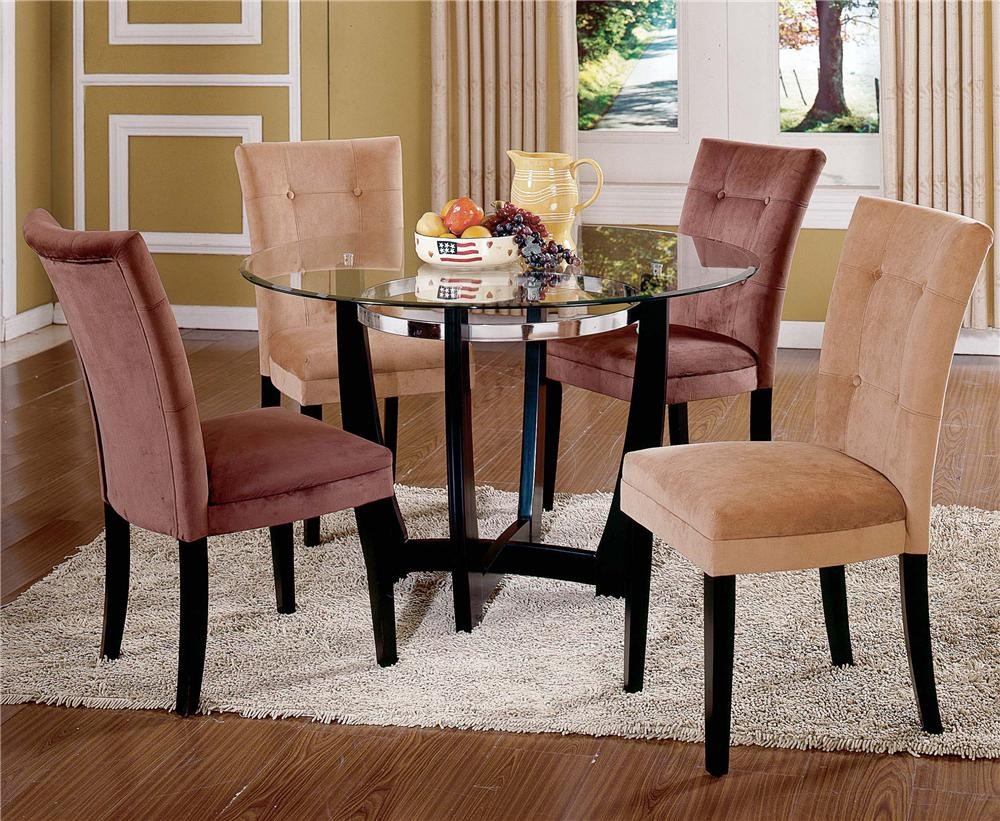 Charmant Steve Silver Matinee Glass Top Dining Table U0026 Parson Side Chair Set