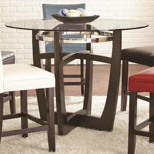 Steve Silver Matinee Round Counter Height Table with Glass Top