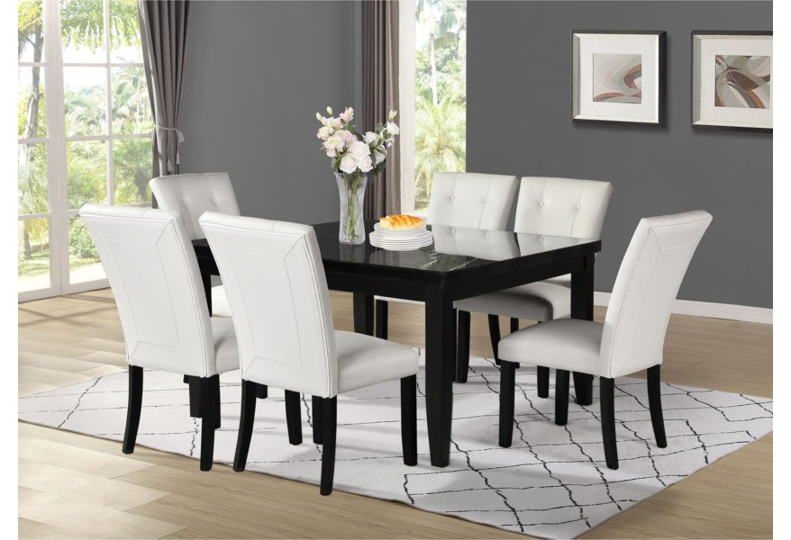 Vendor 3985 Markina Mk500tl 5454mt Contemporary Square Dining Table With Marble Top Becker Furniture Dining Tables