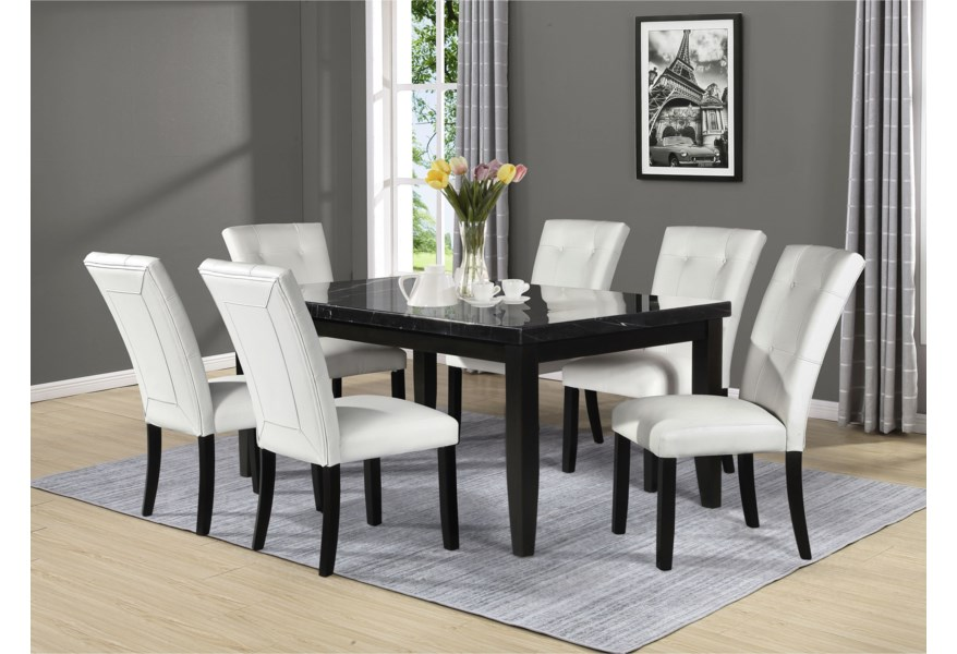 Steve Silver Markina Mk500tl Mt Contemporary Rectangular Dining Table With Marble Top Dunk Bright Furniture Dining Tables