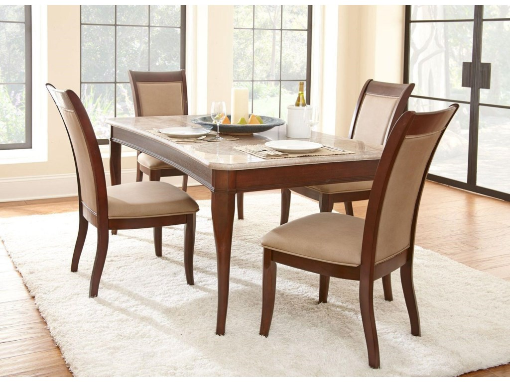 Marseille Marble Top Table with 9 Chairs
