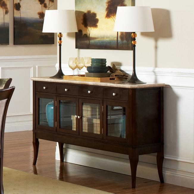 Steve Silver Marseille Transitional Marble Top Dining Sideboard   Royal  Furniture   Sideboard