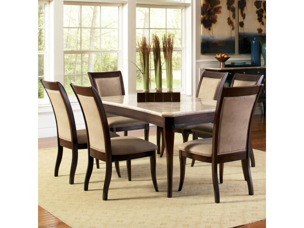 Steve Silver Marseille7-Piece Marble Top Dining Set