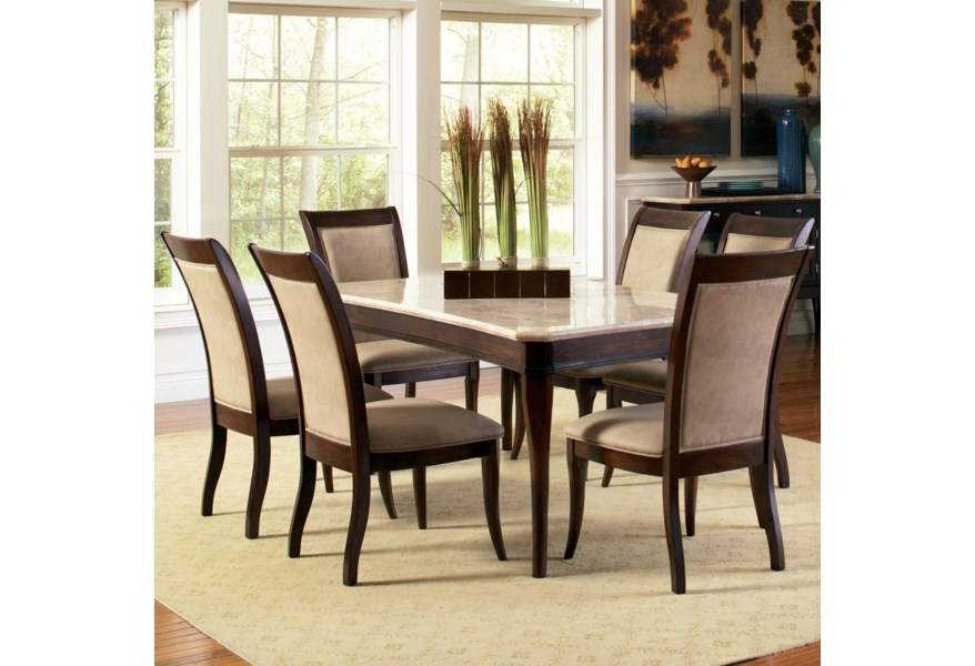 Steve Silver Marseille 7 Piece Rectangular Marble Table And Upholstered Side Chair Dining Set A1 Furniture Mattress Dining 7 Or More Piece Sets