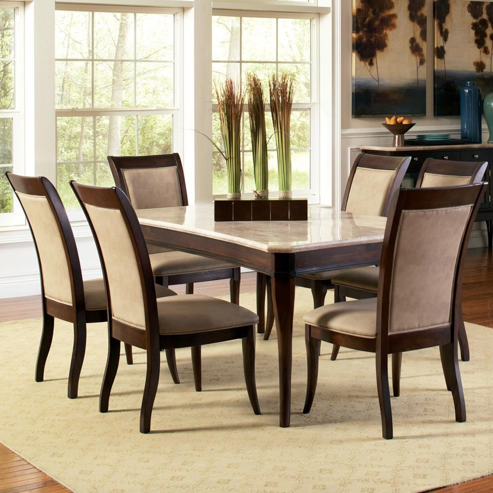 Elegant Steve Silver Marseille 7 Piece Rectangular Marble Table And Upholstered  Side Chair Dining Set   Royal Furniture   Dining 7 (or More) Piece Set