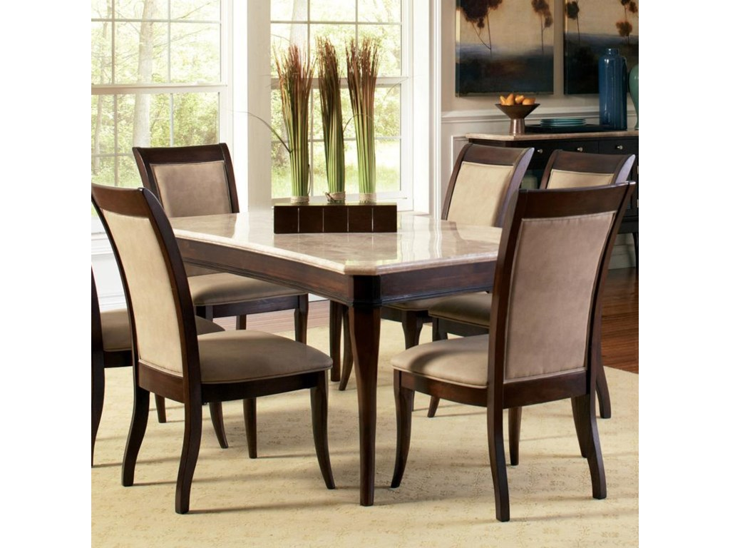 Steve Silver Marseille Transitional Rectangular Marble Top Dining Table Royal Furniture Dining Tables
