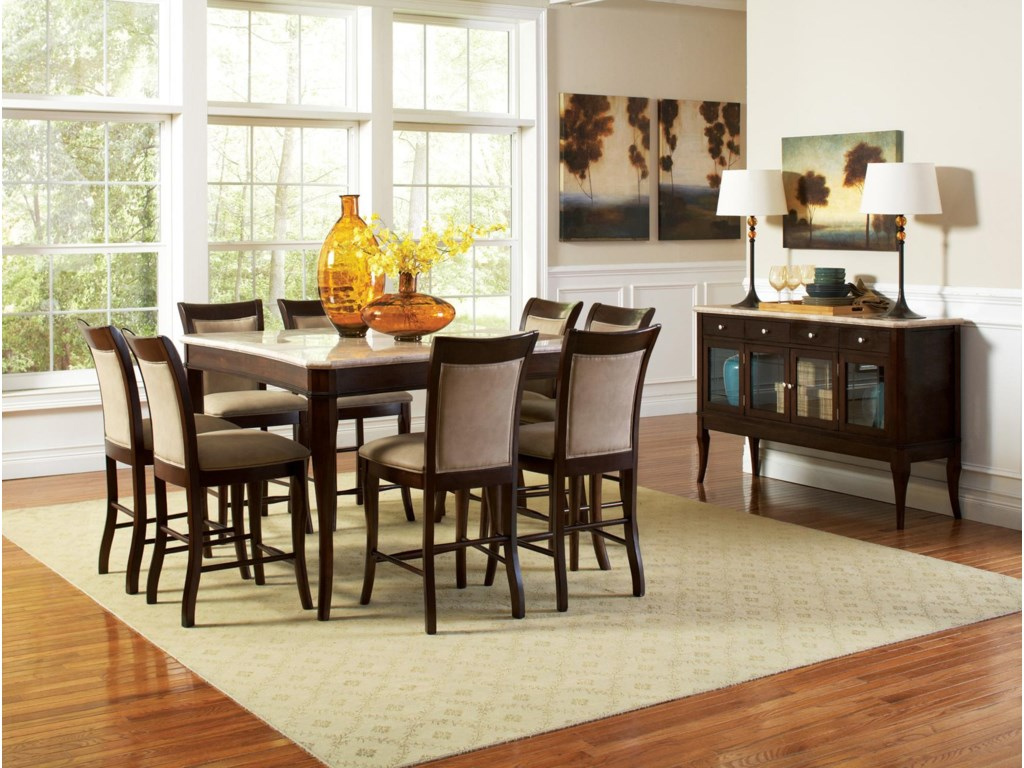 Shown with Marble Top Counter Height Table and Marble Top Sideboard