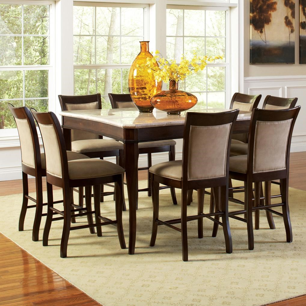 Beau Steve Silver Marseille 9 Piece Marble Top Pub Table And Upholstered Pub  Chair Dining Set