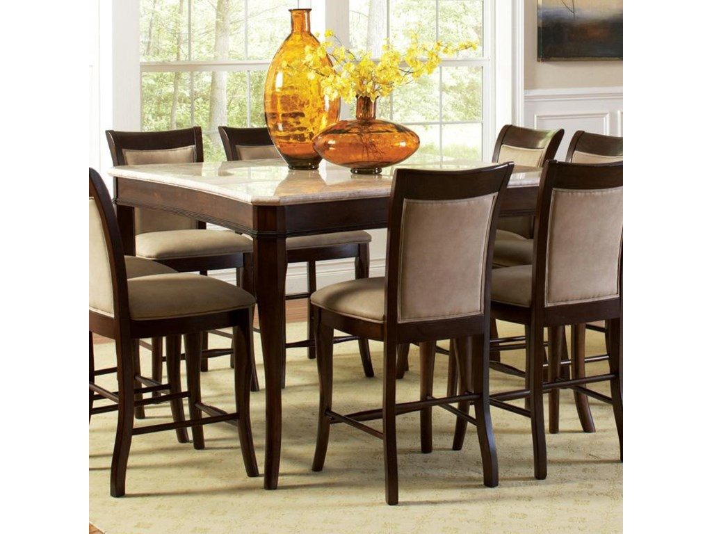 Steve Silver Marseille Transitional Square Marble Counter Height Dining Table Royal Furniture Pub Tables