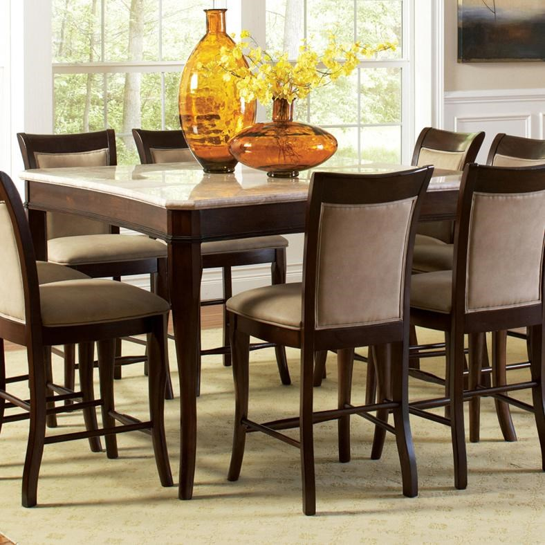 steve silver marseille square marble counter height dining table royal furniture pub table