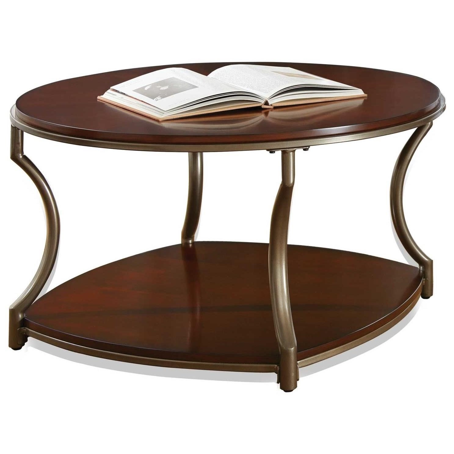 Transitional Round Cocktail Table with Shelf