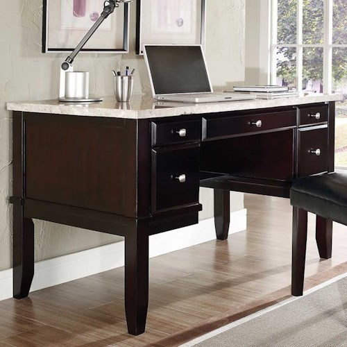 Steve Silver Monarch 5 Drawer Writing Desk With White Marble Top