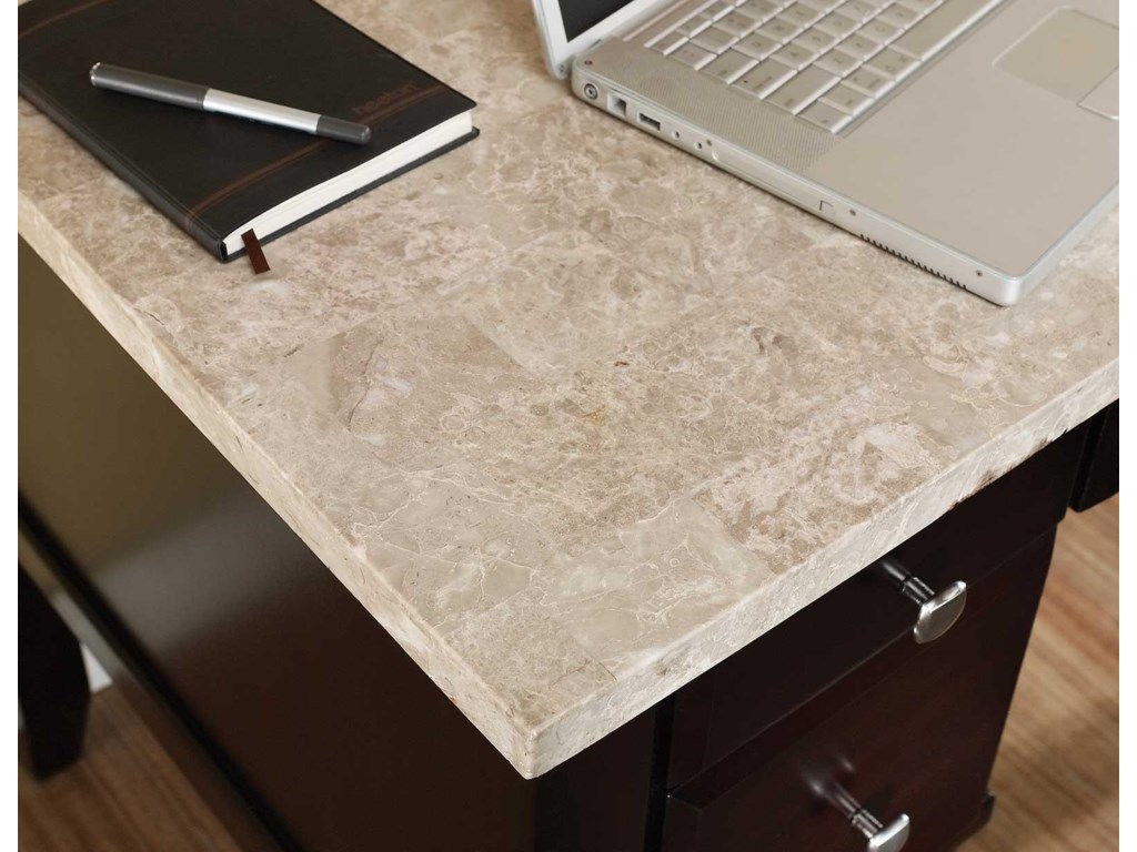 Desk Features a White Marble Top