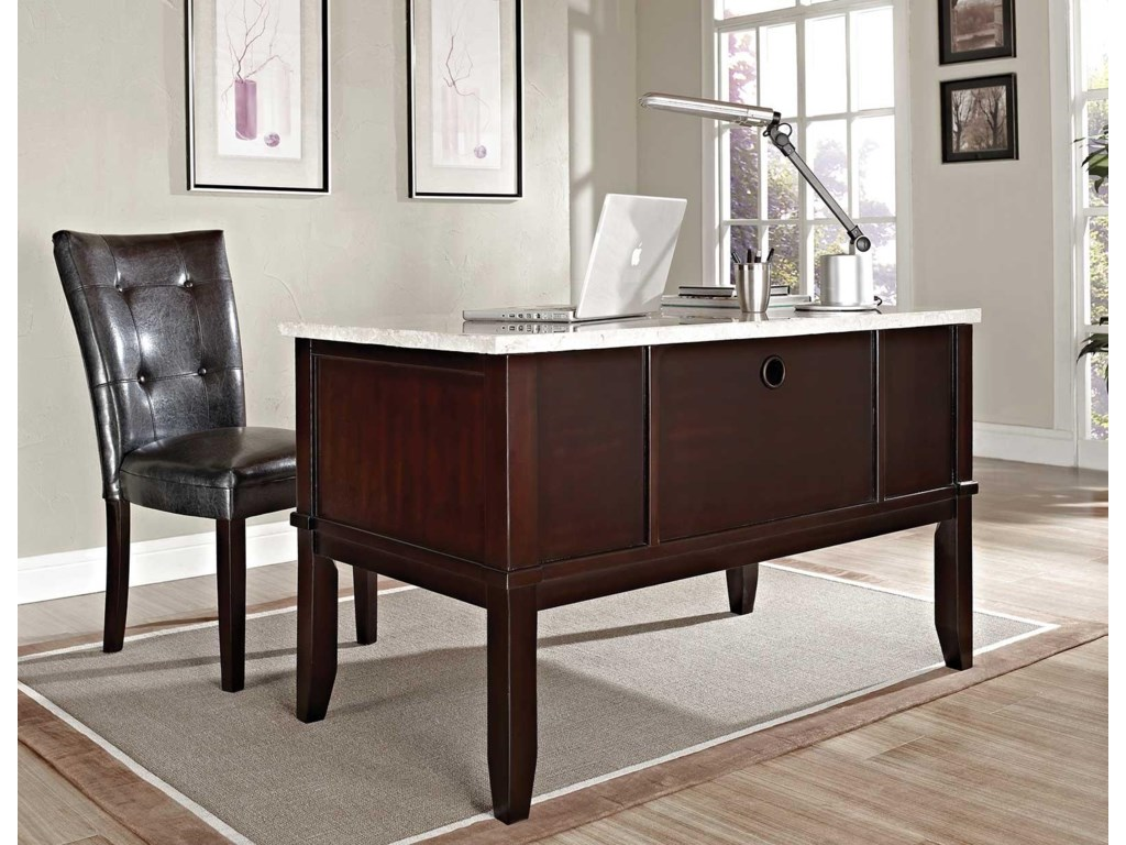 Steve Silver MonarchWhite Marble Top Writing Desk