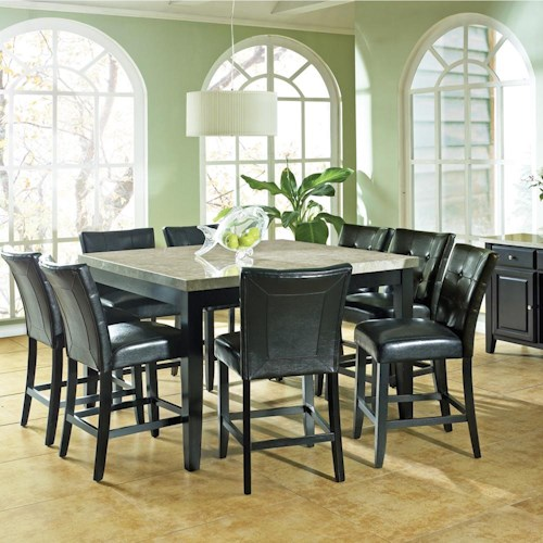 Steve Silver Monarch 9 Pc. Marble Veneer Top Counter Height Leg Table, Parson Stools