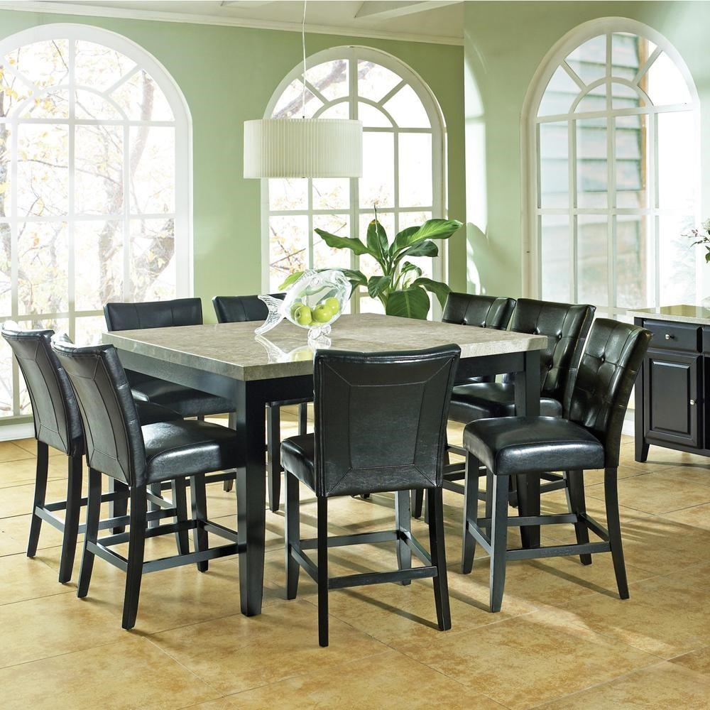 Merveilleux Steve Silver Monarch 9 Pc. Marble Veneer Top Counter Height Leg Table,  Parson Stools