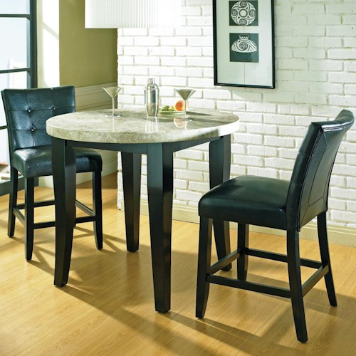 Steve Silver Monarch 3 Pc. Round Marble Veneer Top Counter Table with Parson Stools